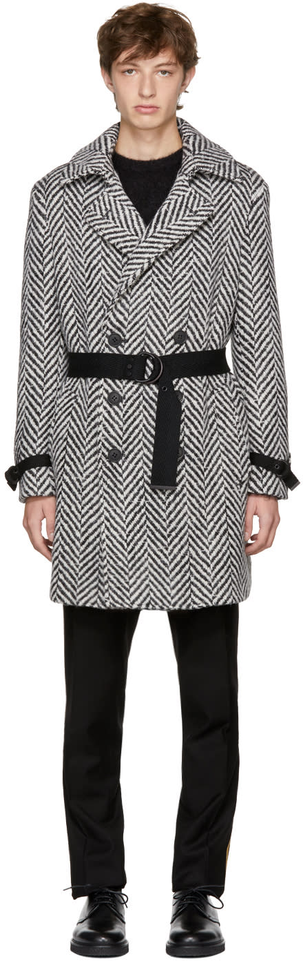 Image of Saint Laurent Black and White Double-breasted Chevron Trench Coat