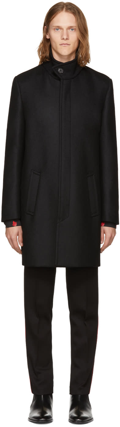 Image of Saint Laurent Black Wool Stand Collar Coat