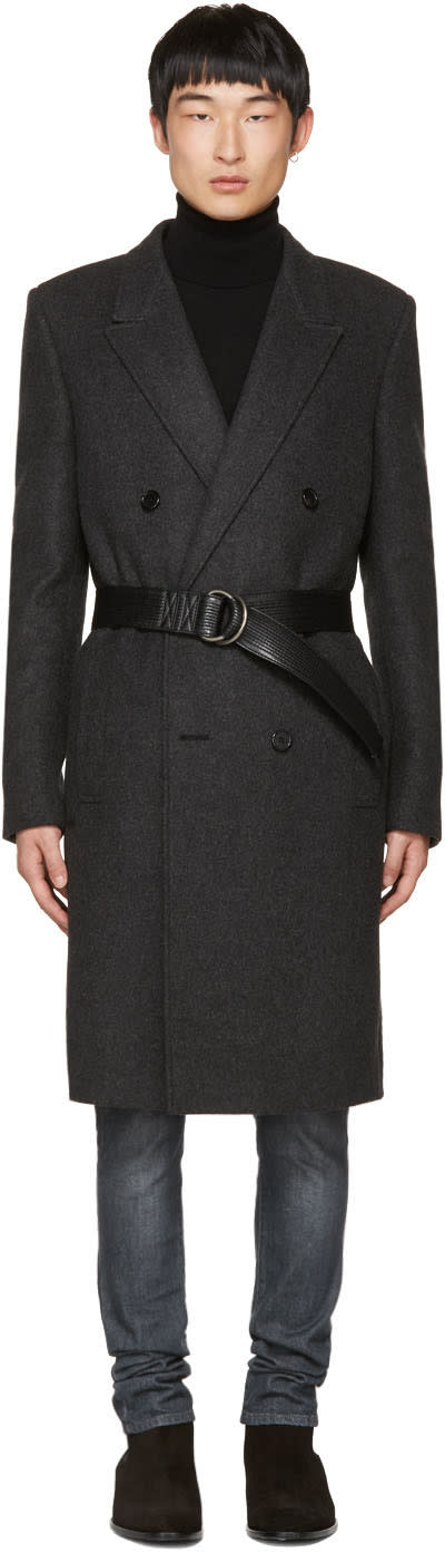 Image of Saint Laurent Black Double-breasted Belted Coat
