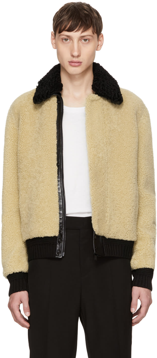Image of Saint Laurent Beige Shearling Bomber Jacket