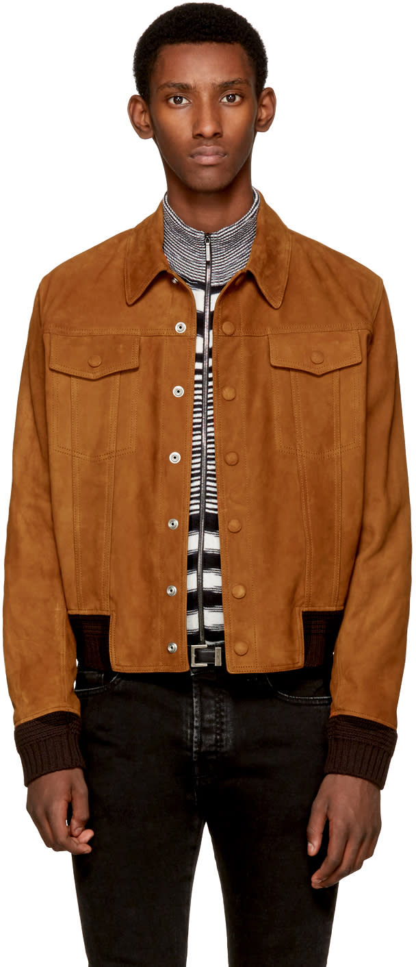 Image of Saint Laurent Brown Suede jean Jacket