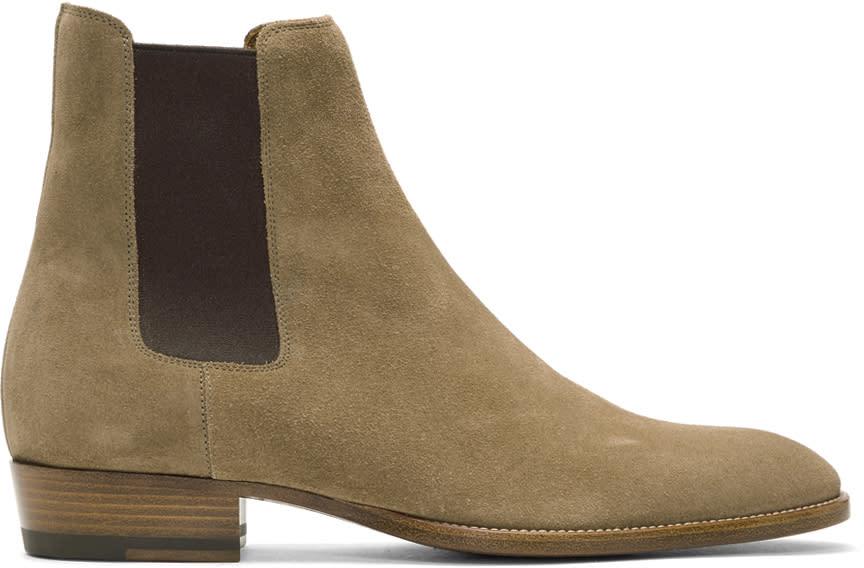Image of Saint Laurent Beige Suede Wyatt Chelsea Boots