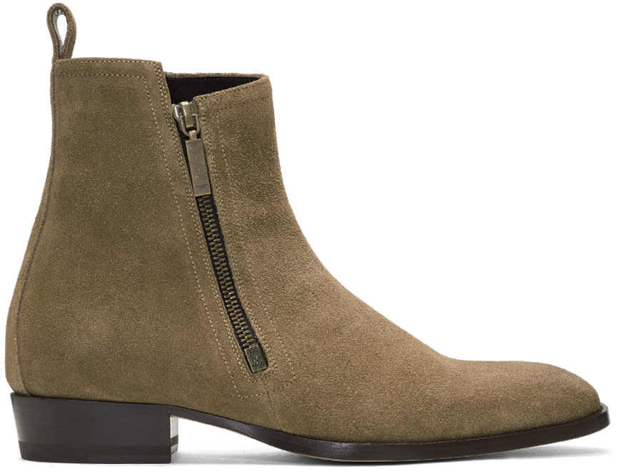 Image of Saint Laurent Beige Suede Wyatt Zip Boots