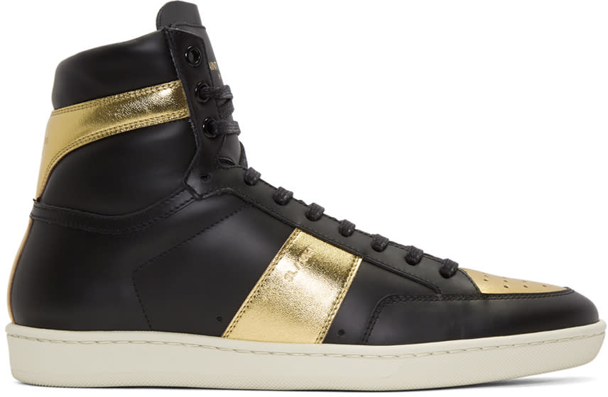Saint Laurent Black and Gold Court Classic Sl-10h High-top Sneakers
