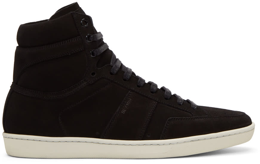 Saint Laurent Black Suede Court Classic Sl-10h High-top Sneakers