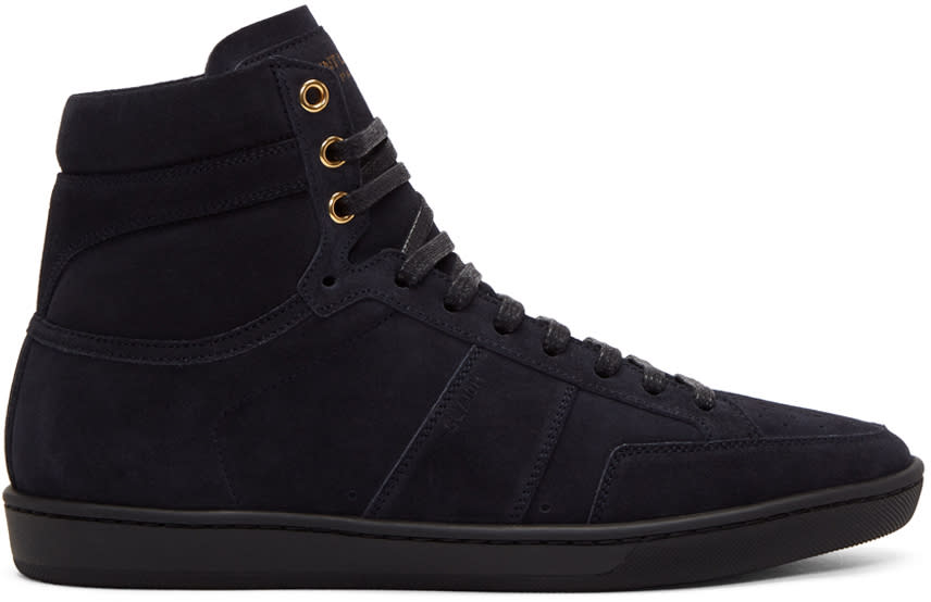 Saint Laurent Navy Suede Court Classic Sl-10h High-top Sneakers