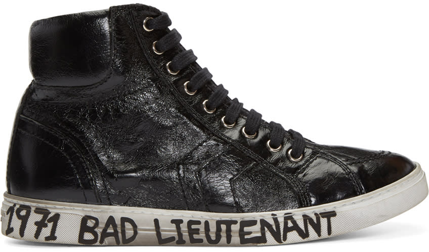 Saint Laurent Black bad Lieutenant Joe Mid-top Sneakers