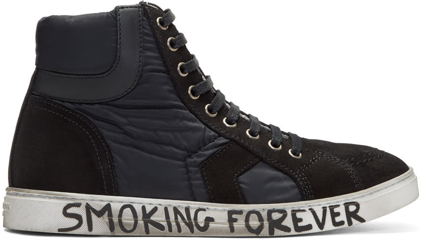 Saint Laurent Black Suede and Nylon Antib High-top Sneakers