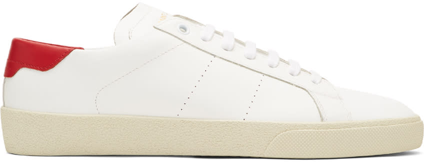 Saint Laurent White and Red Sl-06 Court Classic Sneakers