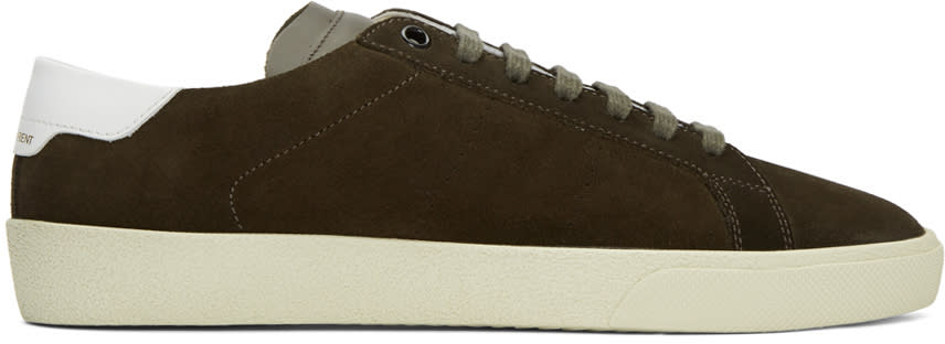 Saint Laurent Khaki Suede Court Classic Sl-06 Sneakers