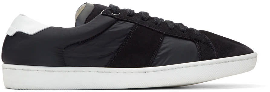 Saint Laurent Black Suede and Nylon Court Classic Sl-01 Sneakers