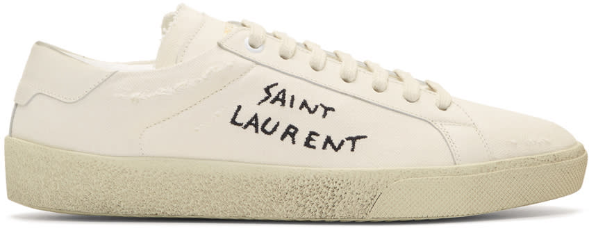 Saint Laurent Off-white Embroidered Canvas Court Classic Sneakers