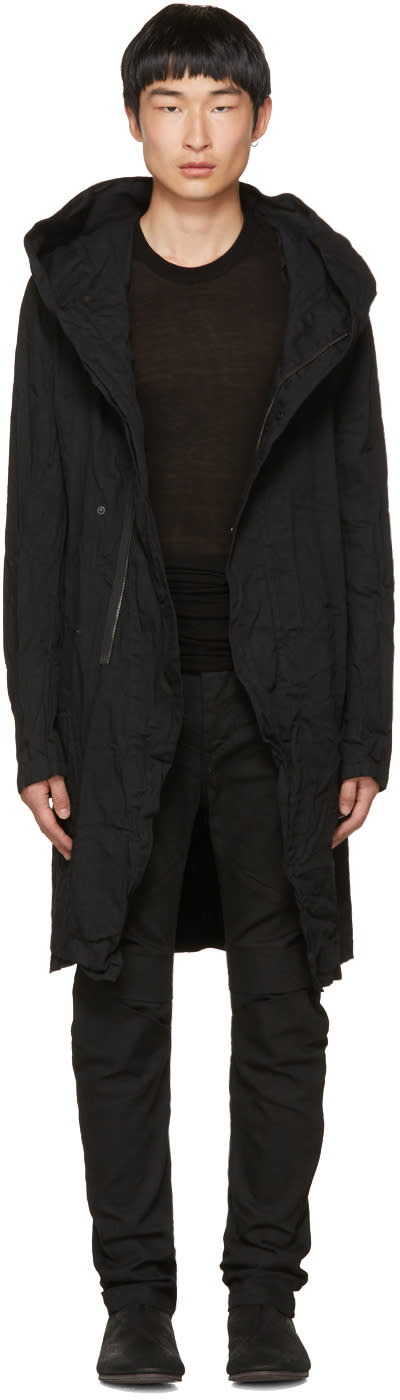 Image of Julius Black Denim Long Hooded Coat