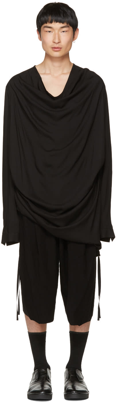 Image of Julius Black Draped Shirring Shirt