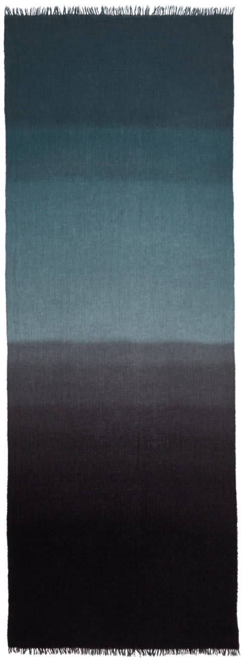 Image of Ps By Paul Smith Black and Grey Dip Dye Scarf