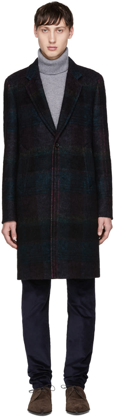 Image of Ps By Paul Smith Black Check Single Button Coat