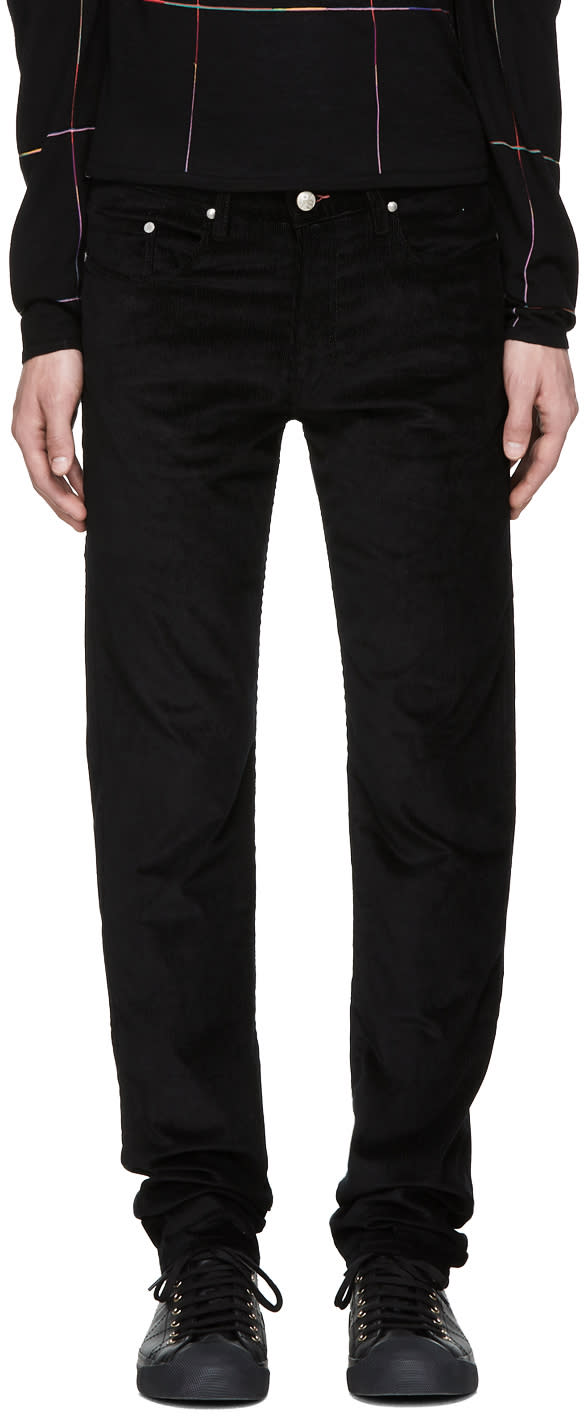 Image of Ps By Paul Smith Black Corduroy Tapered Trousers