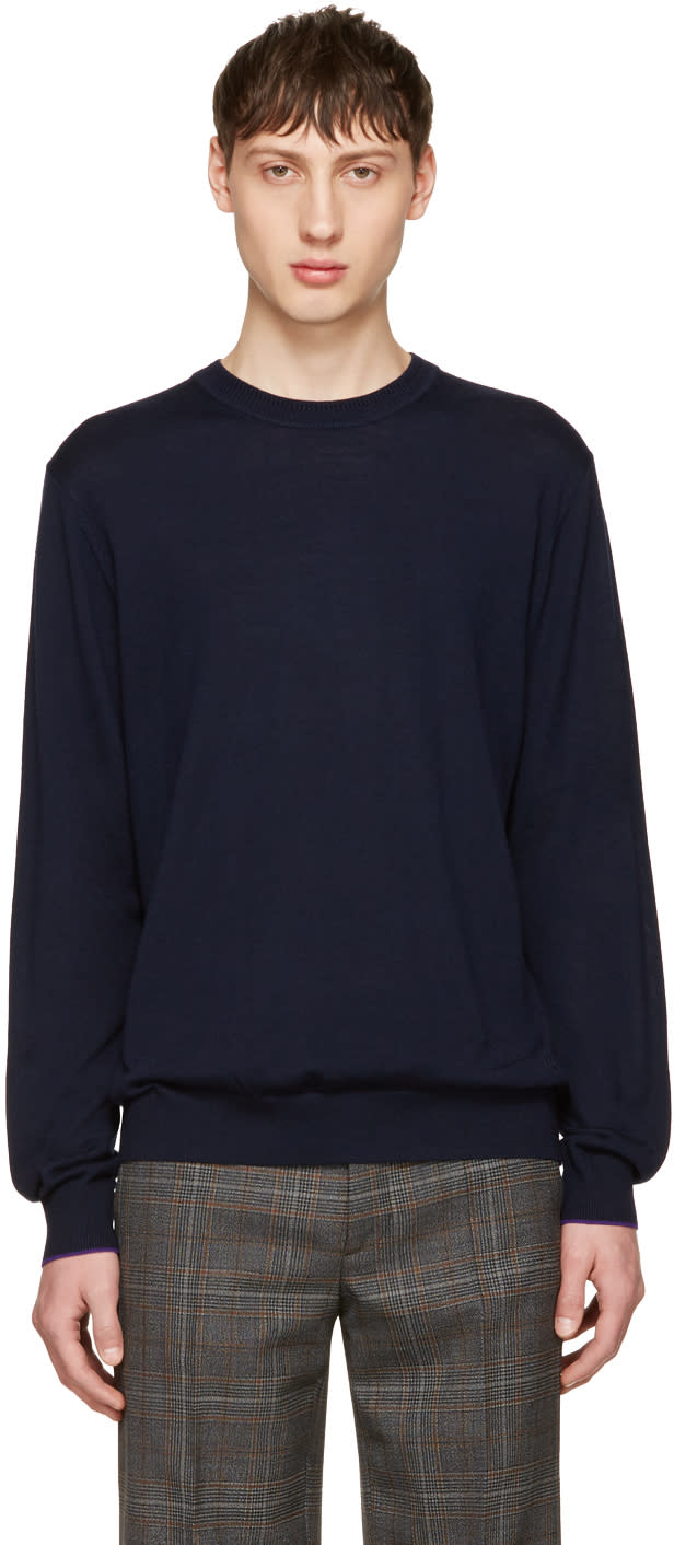 Ps By Paul Smith Navy Merino Knit Pullover