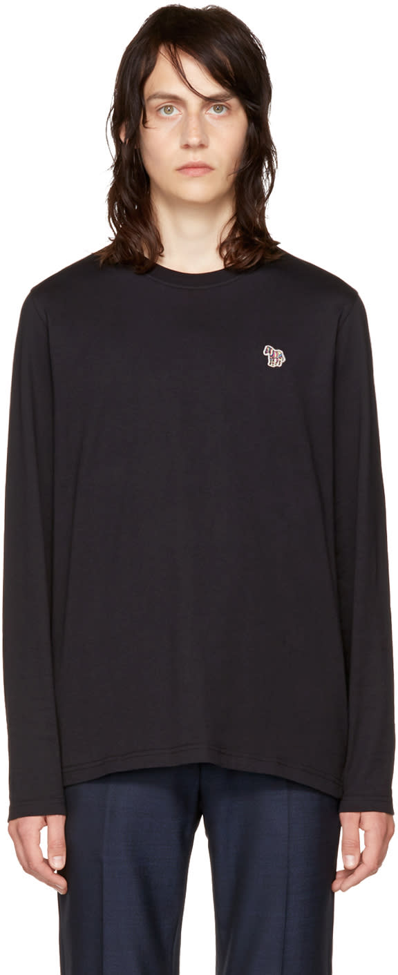 Ps By Paul Smith Black Long Sleeve Zebra T Shirt