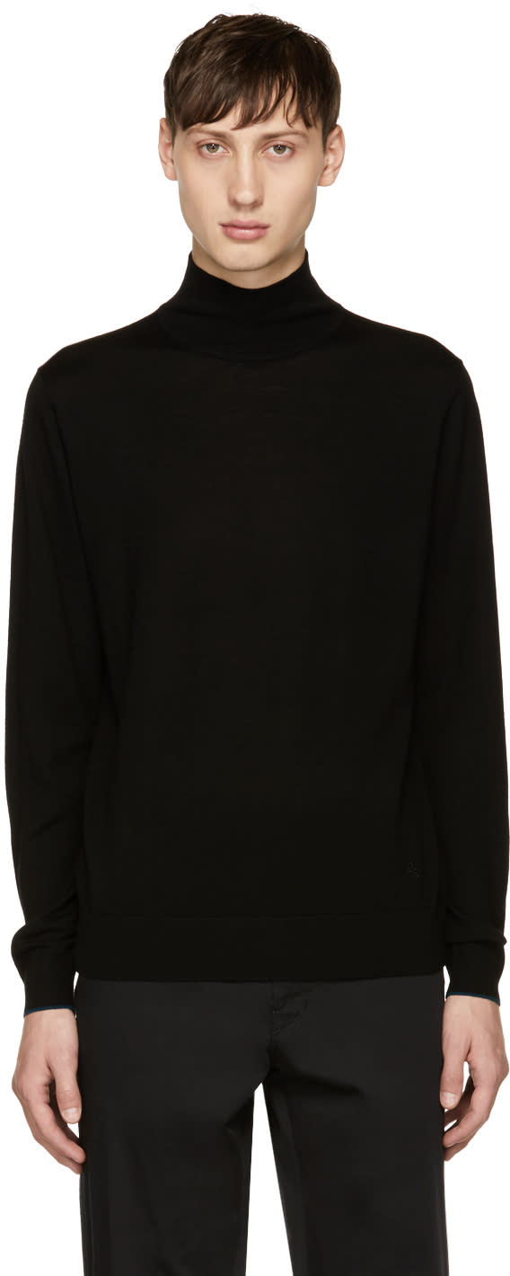 Ps By Paul Smith Black Wool Turtleneck