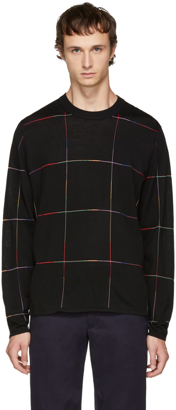 Ps By Paul Smith Black Grid Sweater