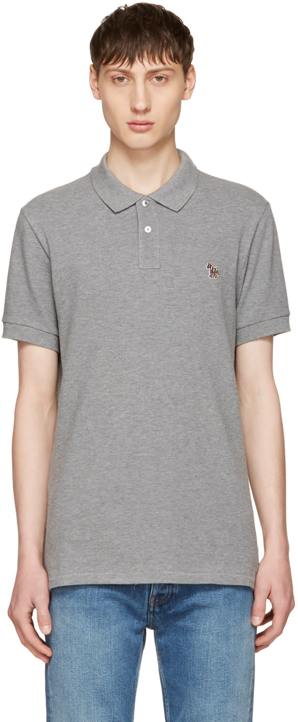 Ps By Paul Smith Grey Zebra Polo