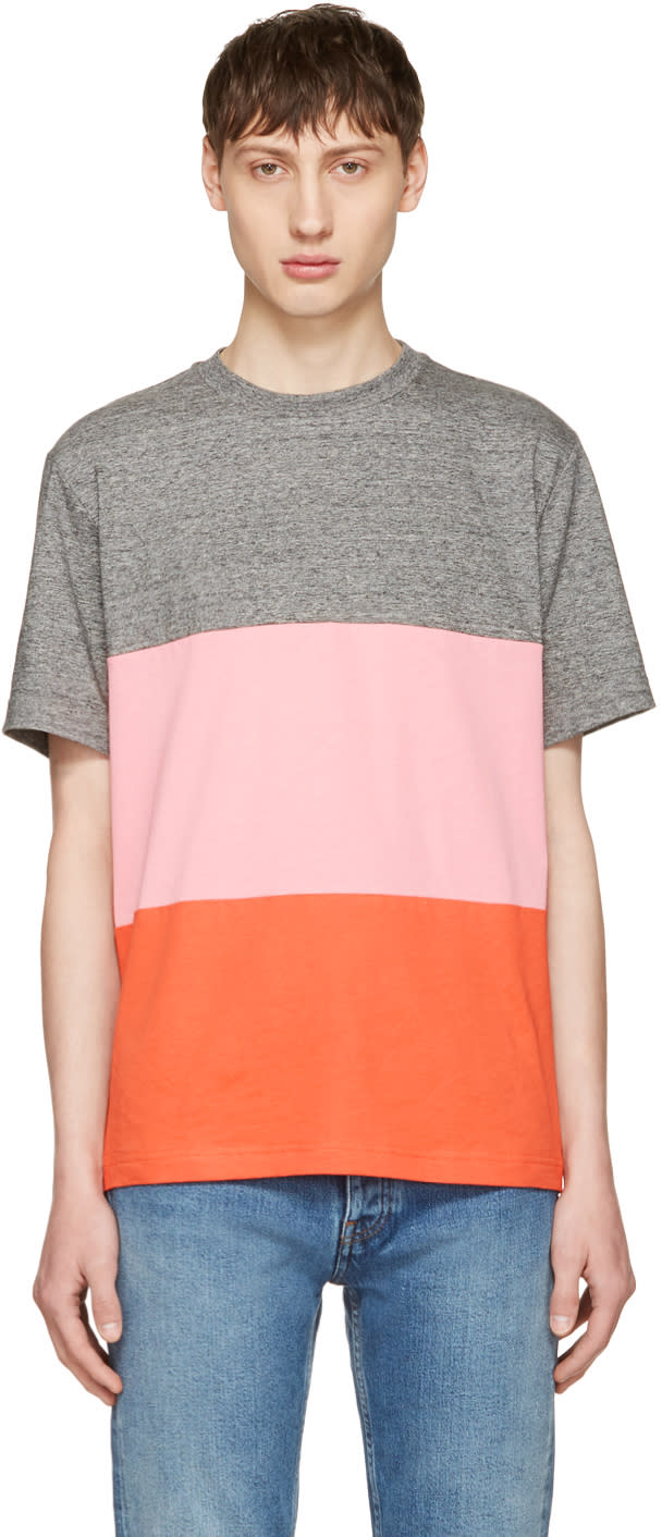 Ps By Paul Smith Grey and Pink Multistripe T-shirt