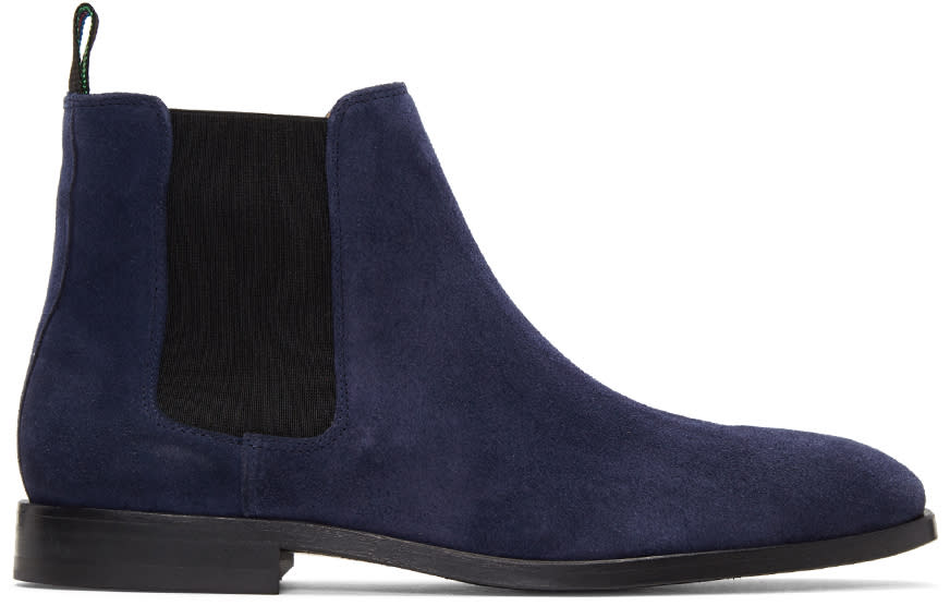 Ps By Paul Smith Blue Suede Gerald Chelsea Boots