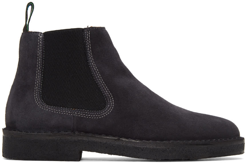 Ps By Paul Smith Grey Suede Dart Chelsea Boots