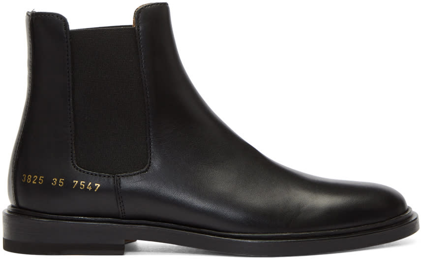 Image of Woman By Common Projects Black Leather Chelsea Boots