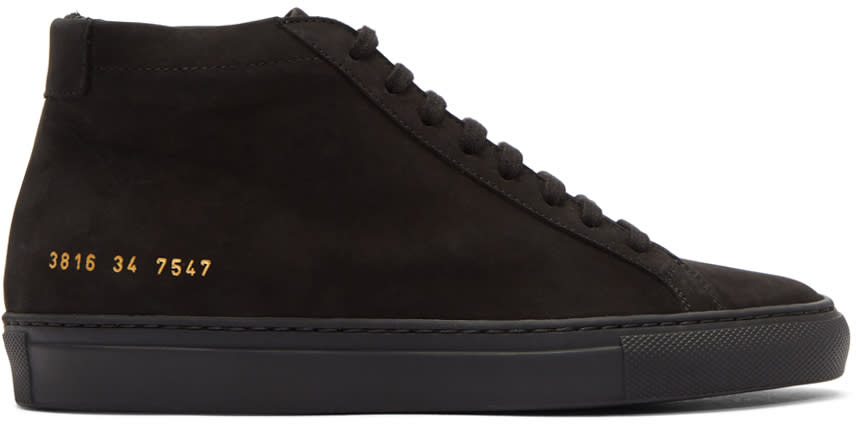 Image of Woman By Common Projects Black Nubuck Original Achilles Mid Sneakers