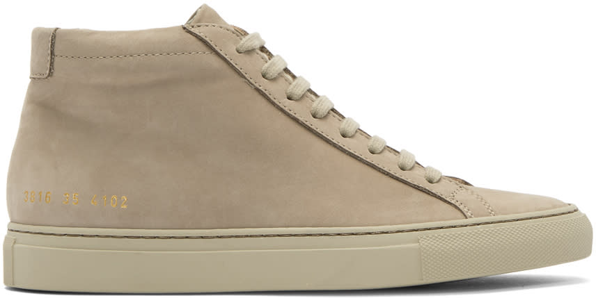 Image of Woman By Common Projects Beige Nubuck Original Achilles Mid Sneakers