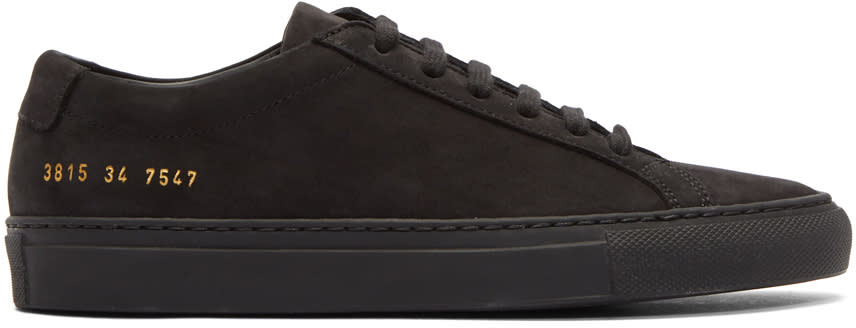 Image of Woman By Common Projects Black Nubuck Original Achilles Low Sneakers