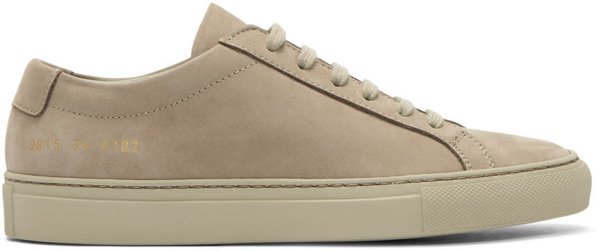 Image of Woman By Common Projects Beige Nubuck Original Achilles Low Sneakers
