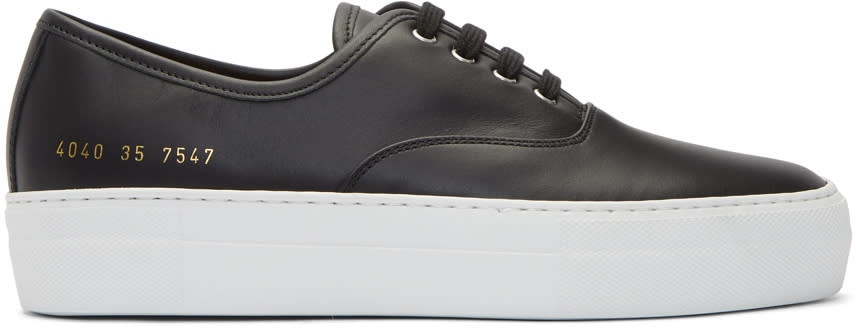 Image of Woman By Common Projects Black Tournament Four Hole Sneakers