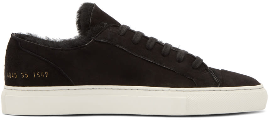 Image of Woman By Common Projects Black Shearling Tournament Low Sneakers