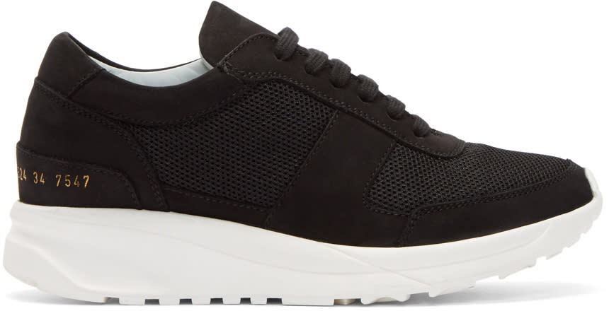 Image of Woman By Common Projects Black Suede Track Sneakers