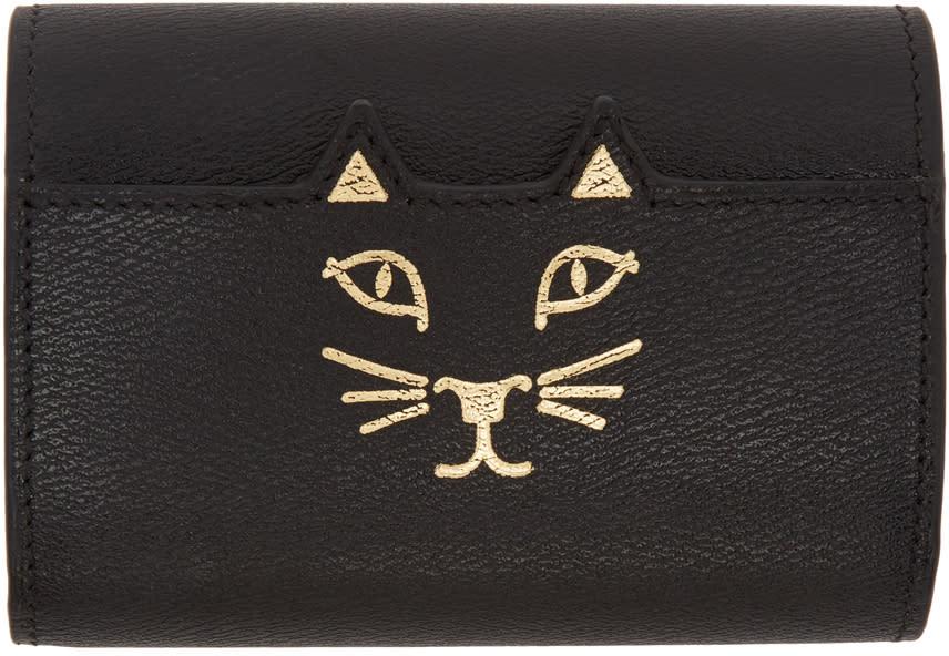 Image of Charlotte Olympia Black Mini Feline Wallet