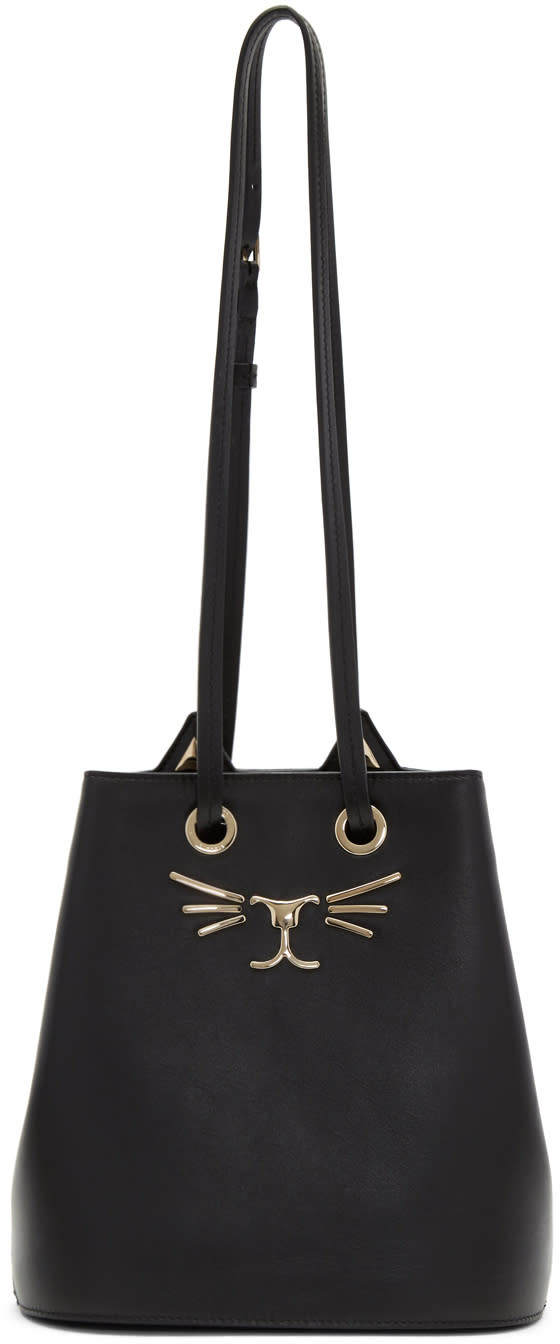Image of Charlotte Olympia Black Feline Bucket Bag