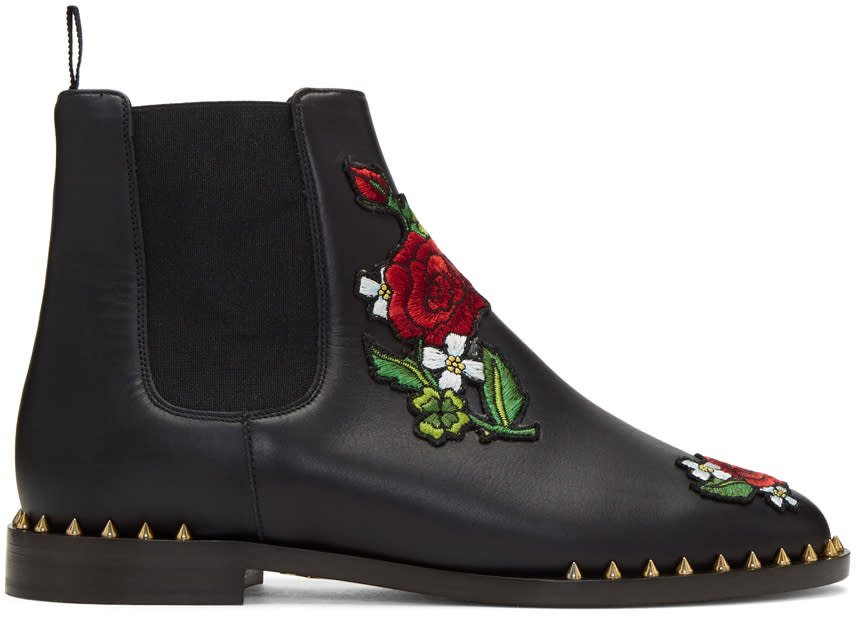 Image of Charlotte Olympia Black Floral Studded Chelsea Boots