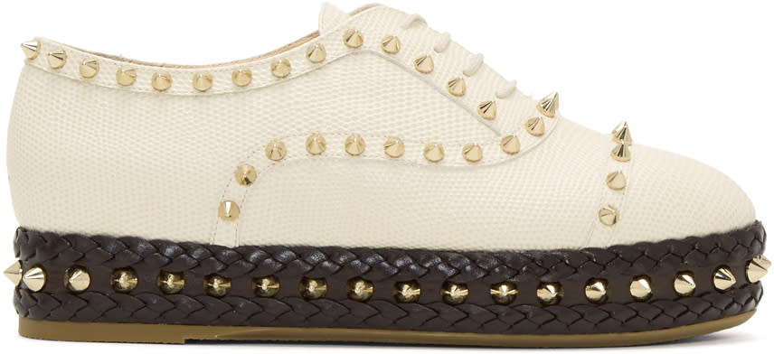 Charlotte Olympia-Ivory Studded Hoxton Oxfords