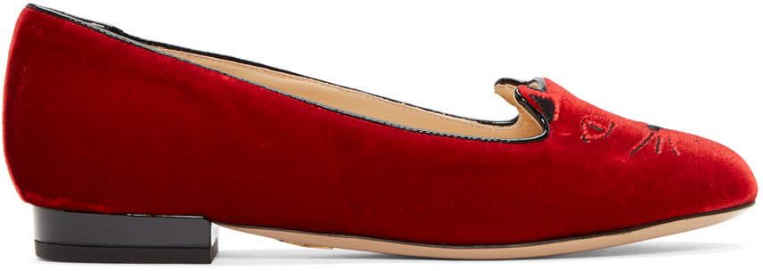 Charlotte Olympia Red Velvet Kitty Flats
