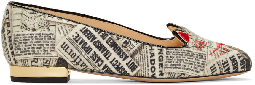 Image of Charlotte Olympia Black and White Gazette Print Kitty Flats