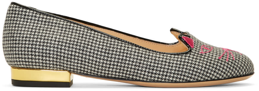 Image of Charlotte Olympia Black and White Houndstooth Kitty Flats