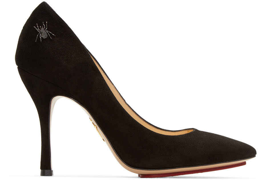 Charlotte Olympia Black Suede Bacall Heels