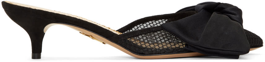 Image of Charlotte Olympia Black Fishnet Sophie Mules
