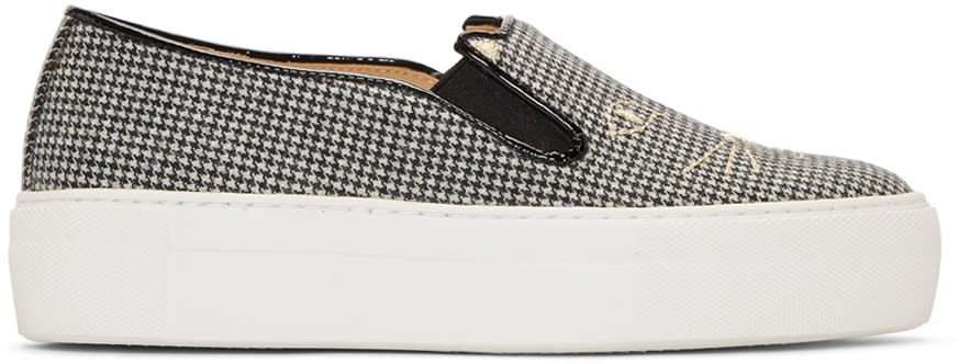 Image of Charlotte Olympia Black and White Wool Cool Cats Slip-on Sneakers