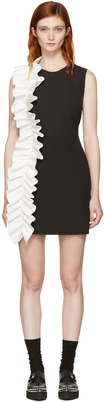 Msgm Black Contrast Ruffle Shift Dress