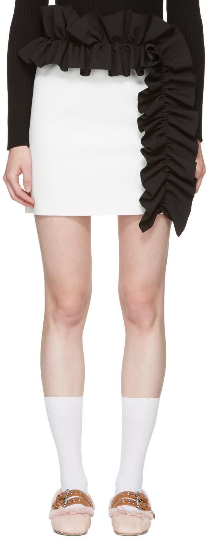 Msgm White Contrast Ruffle Miniskirt