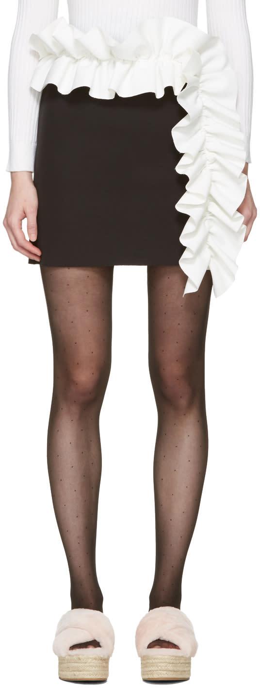Image of Msgm Black Contrast Ruffle Miniskirt
